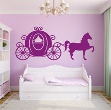 цена на Princess Carriage with Horse Vinyl Wall Sticker Horse Carriage Sillhouette Wall Decal for Bedroom Removable Wall Art Mural AY069