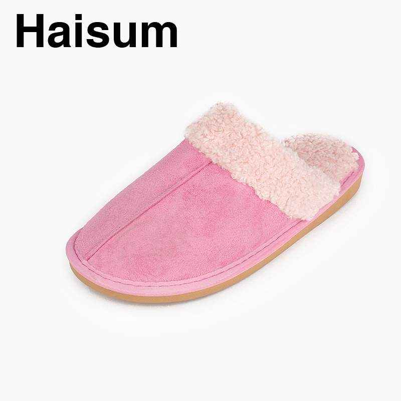 Ladies Slippers Winter genuine Leather Thick With Plush Home Indoor Non-slip Thermal Slippers 2018 New Hot Sale Haisum L-1809 men s slippers winter pu leather home indoor non slip thermal slippers 2018 new hot haisum h 8007