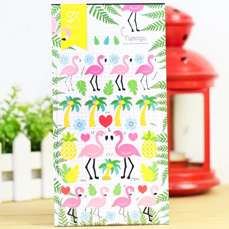 Korean Sticker Flamingo Cute Diary Stickers DIY Scrapbooking Post It Journal Phone Deco Birds Tree Three dimensional Sticker