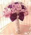 Muy Recomendable Seda Artificial Flor de Rose Ramo de Novia Ramo de la Boda Accesorios de la Perla de Cristal de Novia Espera flor