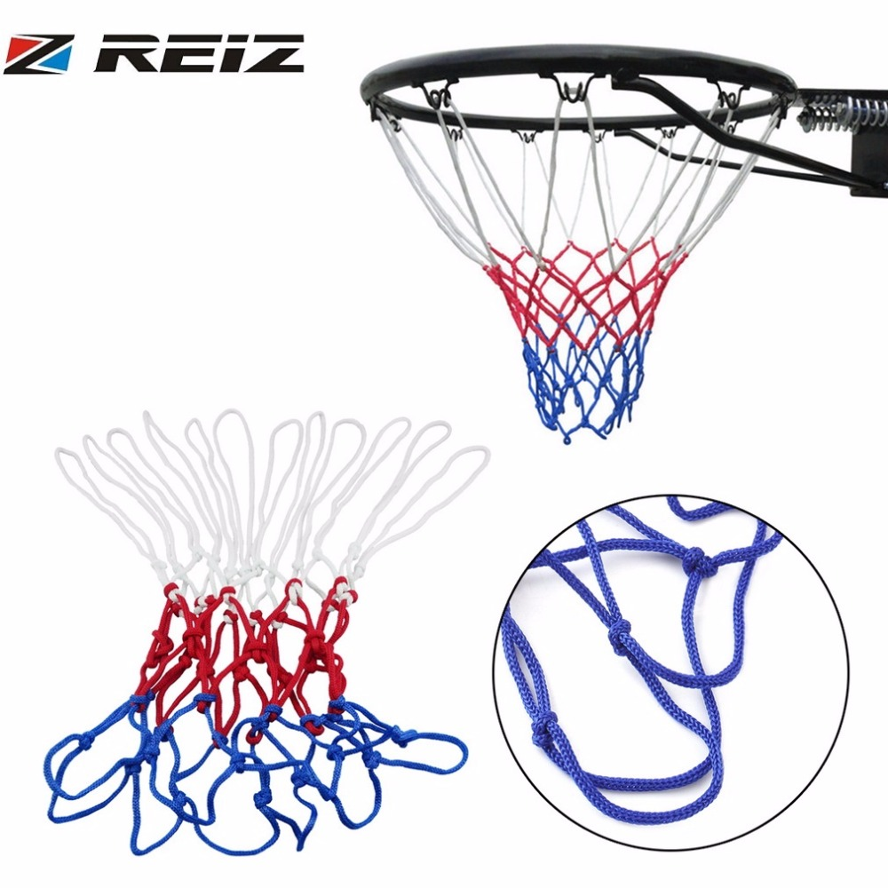 REIZ Basketball Net 1pc thick 5mm Red White Blue Sport Outdoor Basketball Net Nylon Hoop Goal Rim Mesh Net Hot Sale