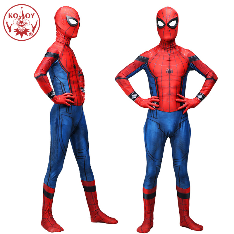 KOOY 2018 New Adult Men Spider Man Homecoming Spiderman Cosplay Costume for men Zentai Superhero Bodysuit Suit Jumpsuits