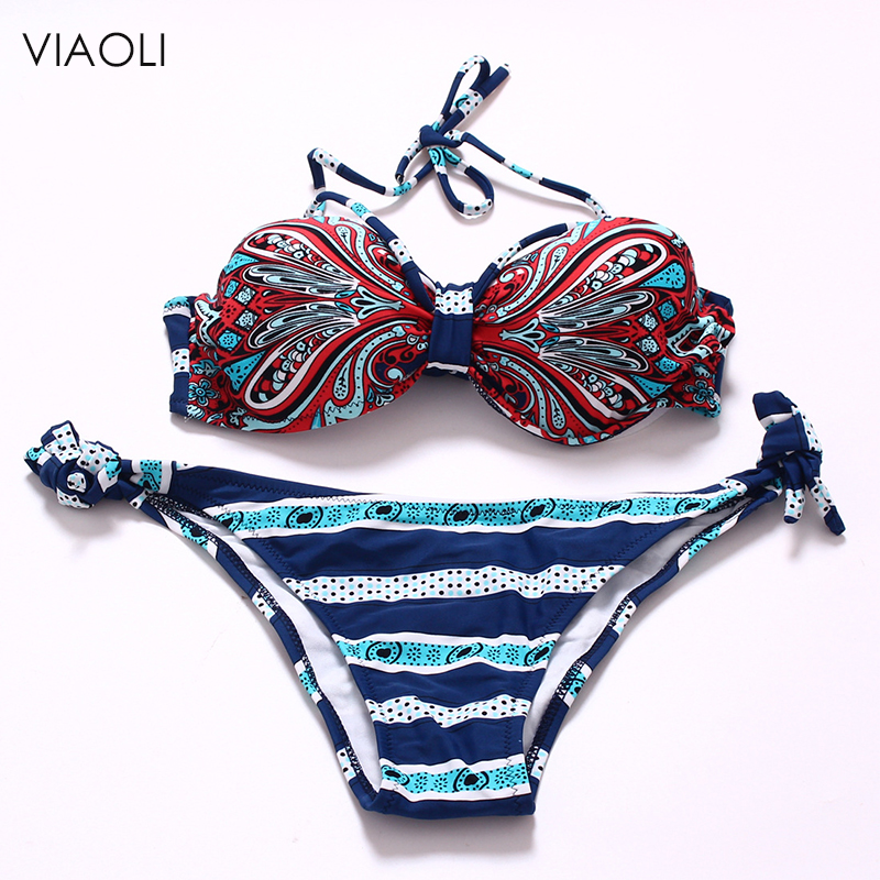 New Bikini Womens Halter Brazilian Push Up Swimwear Bikini Tribal Bandeau Floral  Stripe Bathing Suit  Bikini Female Beachwear