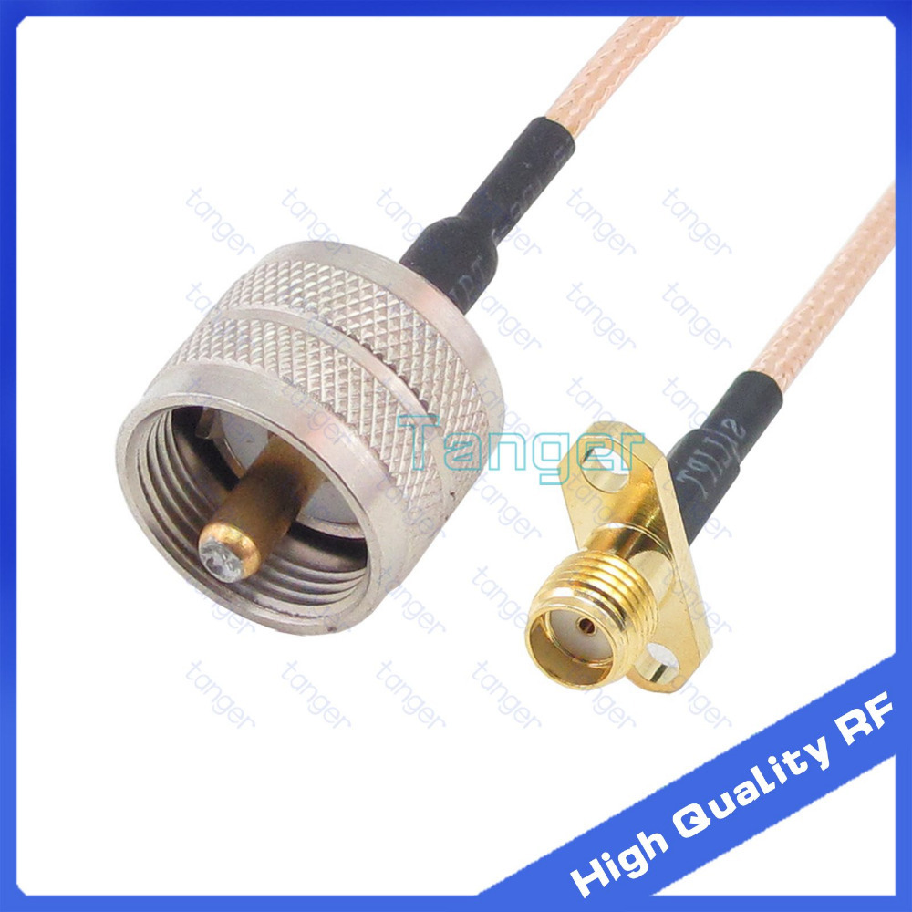 UHF male PL259 PL-259 to SMA female jack 2 hole panel connector with 20cm 8 8in RG316 RF Coaxial Pigtail cable high quality high qualitypremium uhf type male pl259 plug to n female jack rf coaxial adapter connector