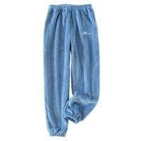Модные Фланелевые домашние пижамы для пары, женские коралловые бархатные зимние теплые женские пижамные штаны, женская пижама, брюки
