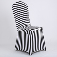 1 Pcs White Black Chair Covers Spandex Zebra Striped Pattern Chair Cover For Weddings Dining Office