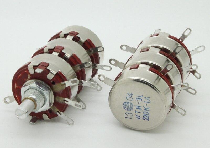 2 x полный размер тройной банды 220 K Ом 2 Вт 2 Вт аудио карбоновый потенциометр горшок