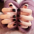 Gradient Black Fake Nails Flat Lady Acrylic False Nail Kit 24pcs with Double Side Adhesive sticker Perfect for OL Z267