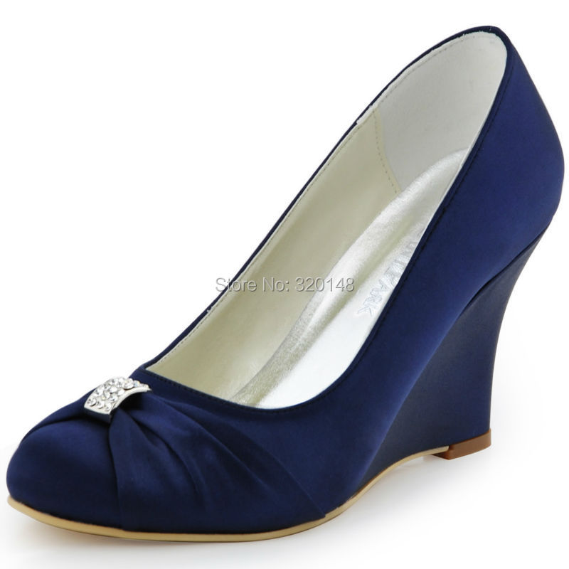 2c7defd8 Women Wedges High Heel Wedding Bridal Shoes Navy Blue Rhinestone Closed Toe  Satin Bride lady Prom Party Pumps EP2005 Teal White-in Women's Pumps from  Shoes ...