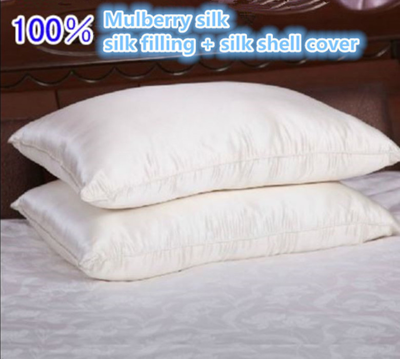 100% Mulberry silk filling pillow Eco Friendly pure natural silk 75 X 48 cm 1 kg 1.5 kg mulberry silk pillow customize