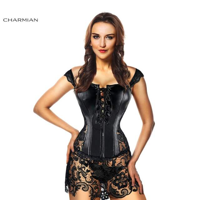26caf7c7a45 placeholder Charmian Women s Sexy Steampunk Corset Dress Gothic Plus Size Faux  Leather Corsets and Bustiers Christmas Corset