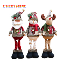 1pcs Santa Snowman Reindeer Standing Plush Doll Christmas Festival Decorations Ornaments Kids Gift Toys for Home