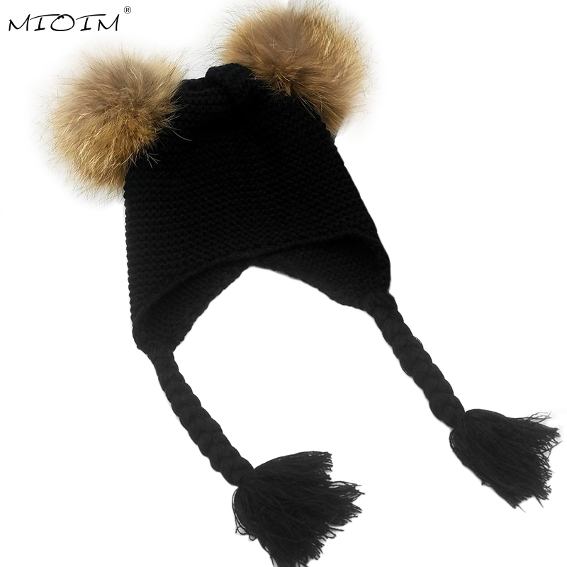MIOIM Winter Baby Knit Hat With Two Fur Pompoms Boy Girls Natural Fur Ball Beanie Kids Caps Double Faux Fur Pom Pom Hat Baby 3 men watches luxury top brand weiyaqi new fashion big dial designer quartz man wristwatch relogio masculino relojes pengnatate