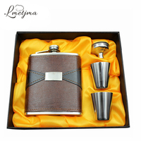 Hip Flask Set Stainless Steel Hip Flask 7oz Portable Leather Whiskey Flask For Alcohol With 2