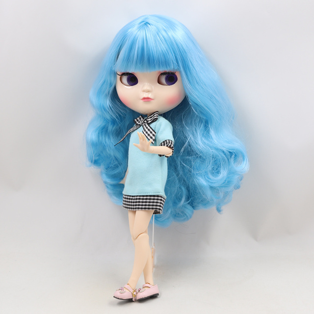 ICY Fortune Days factory doll azone joint body 30cm white skin Blue long curly hair DIY sd gift toy