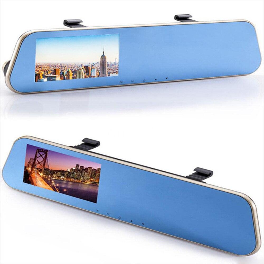 imágenes para 4.3 pulgadas IPS Delantera y Trasera HD 1080 P dual-lente de la cámara del coche espejo retrovisor g-sensor USB2.0 memoria loop grabación videocámara