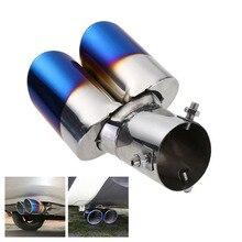 63 мм автомобиль гриль синий двойной выхлоп глушитель трубы двойной хвост советы Универсальный