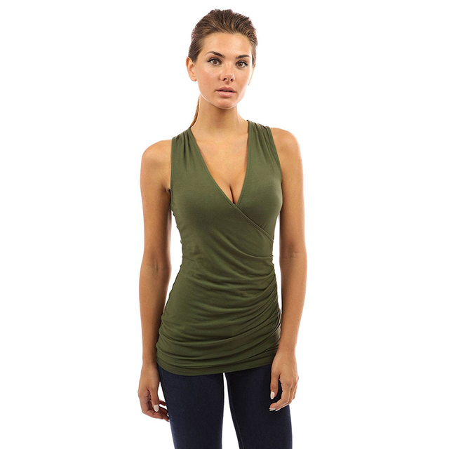 Women Summer Clothing Casual Sexy Wrap Split Deep V-neck Sleeveless T-shirt  Tops 115af749ab92