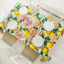 Lemon Fruit Tablecloths Thick Cotton Canvas Tablecloth/table Cover Summer  Fruit Theme Desk Cover Home