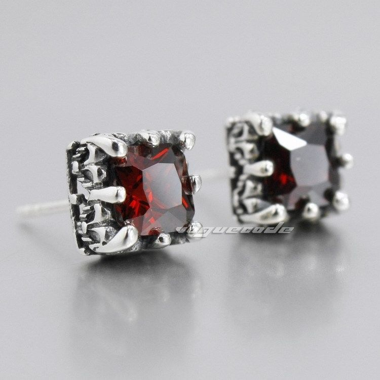 925 Sterling Silver Square Red CZ Mens Biker Rocker Stud Earring 8R001 (2 pieces)