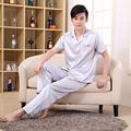 2016 New  Short sleeve Patchwork Turn-down Collar Casual Silk Satin pajamaset Elastic Waist Pajama Suit  homewear pajamas