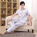 2016 Nuevo Satén de Seda de manga Corta Patchwork Turn-down Collar Casual pajamaset Cintura Elástico Traje de Pijama homewear pijamas
