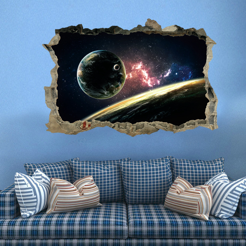 3D Wall Stickers Star Universe Planet Series Bedroom Living Room TV Ze Bedroom Ideas Small Decorating Html on