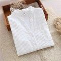 2016 Новый Осень Женщина V-образным Вырезом Blusas Твердые Белые Случайные Блузки Женщины Долго Seeved Хлопчатобумажную Рубашку