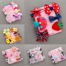 1 piece set = 6PCS new children's hairpin baby fabric bow flower headwear hairpin girl tiara hair accessories best selling child(China)