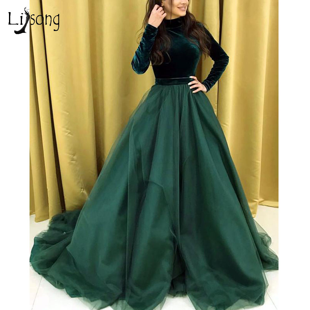 Emerald Green Velour Muslim Evening Dresses Full Sleeves Elegant A-line Long Prom Gowns Formal Party Dress 2019 Robe De Soiree