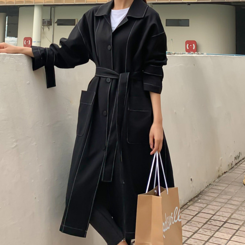 LANMREM 2019 Autumn And Winter New Casual Fashion Women Loose Plus Back Buckle Single-breasted Solid Color Windbreaker TC757