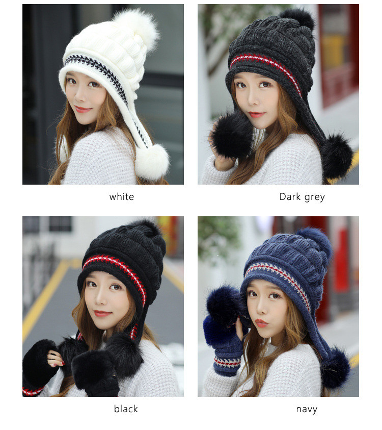 New Autumn And Winter Korean Version Of The Warm Women Hat Gloves Set Knitted Hair Ball Two Sets Of Ladies Thickening HC37 (6)