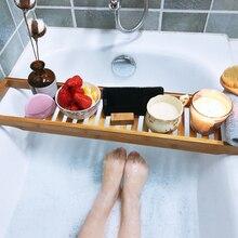 Bamboo Bath Shelf Bathtub Tray Shower Wine Glass Book Holder Caddy Rack Support Storage Organizer