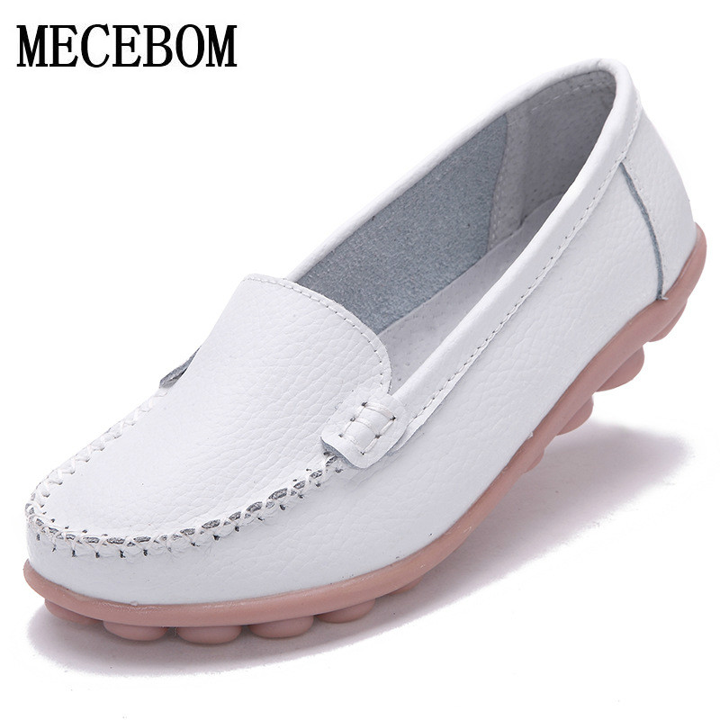 2018 Shoes Woman Leather Women Shoes Flats Colors footwear Loafers Slip On Womens Flat Shoes Moccasins Plus Size 1189W