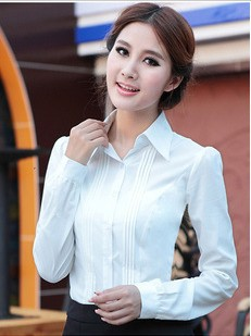 Beautiful white blouses Korean style fashion slim Office shirt ...
