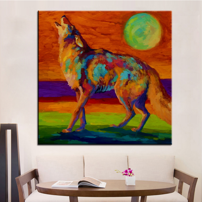 Large size Printing Oil Painting moon talk coyote Wall painting Steampunk Wall Art Picture For Living Room painting No Frame