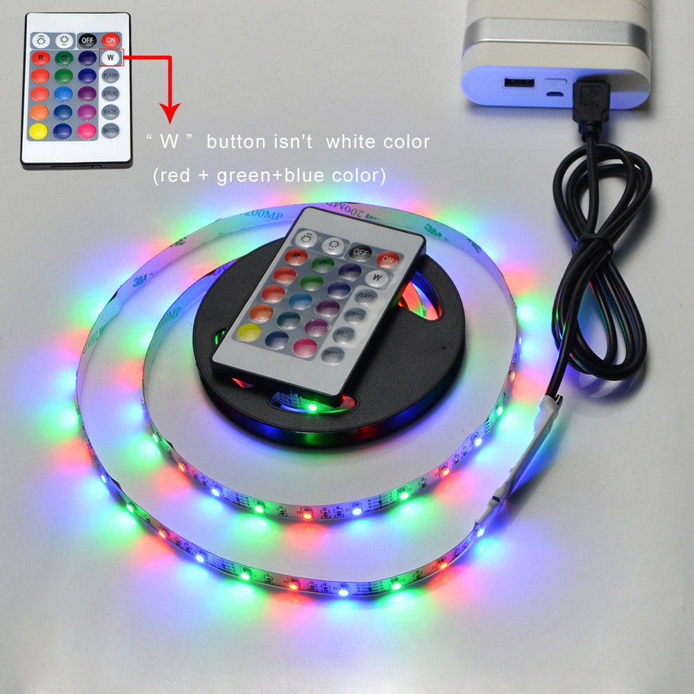 Image 3 - 1m 3m 5m IP20 3528 SMD DC 5V USB charger power supply LED strip light RGB remote control USB cable adapter LED lamp Decor light-in LED Strips from Lights & Lighting