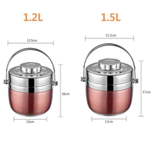 цена на Double Layer Portable Food Thermos Heated Lunch Box Thermos 1.5 L 1.2 L Stainless Steel Vacuum Flasks School Food Container gift