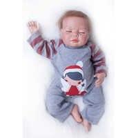 Nicery 20-22 zoll 50-55 cm Bebe Reborn Puppe Weiche Silikon Junge Mädchen Spielzeug Reborn Baby Puppe geschenk für Kind Grau Overall