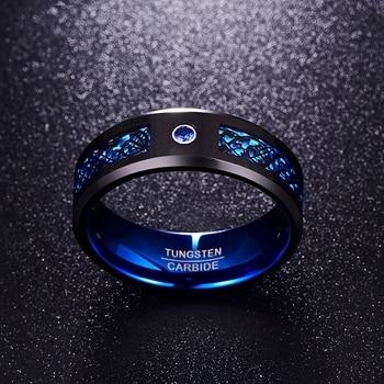 Foreign Trade Carbon Fiber Scrub Blue Zircon Men Rings Tungsten Carbide Anillos para hombres Black Dragon 1