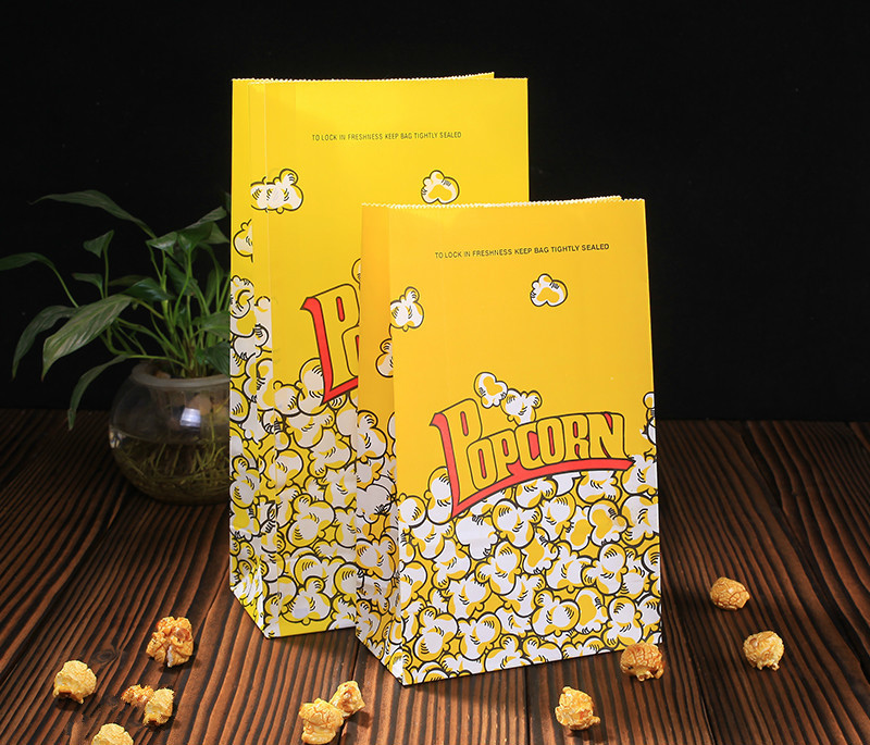 Us 6 88 31 Off 20 Pcs Popcorn Bags Paper Yellow Wedding Birthday Party Kids Oil Proof Kraft Bag Box Food Container In