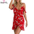 Цветочные dress 2017 лето женщины сексуальное отпечатано пляж платья Спагетти ремень рукавов boho элегантный клуб мини Нерегулярные vestidos