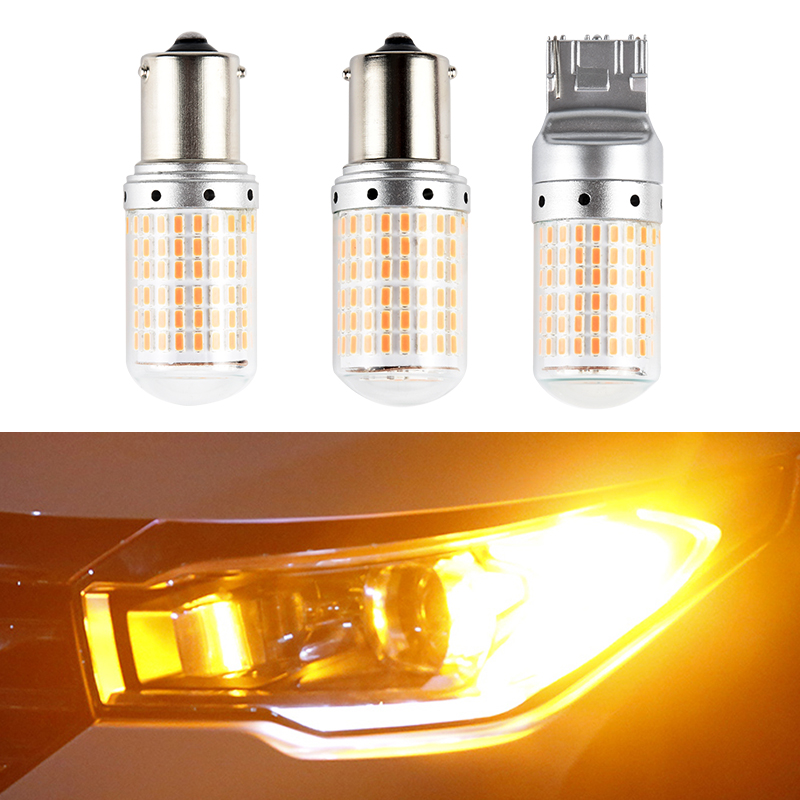 T20 7440 S25 1156 BAU15S BA15S LED Yellow Turn Signal Lights Bulb Amber No Anti Hyper Flash Error Free Bright 144SMD 12V 21W 1PC image