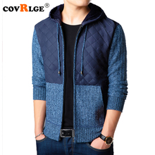 Covrlge 2018 New Fashion Men Hooded Sweater Male Thicker Warm Long Sleeve Zipper Kint Jacket Casual Wool Cardigan Coats MZM040