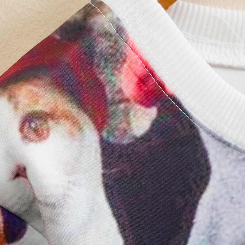 Bts المتناثرة-رئيس القط الأسرة صورة مطبوعة السيدات الأزياء بأكمام طويلة هوديس femela بلوزات