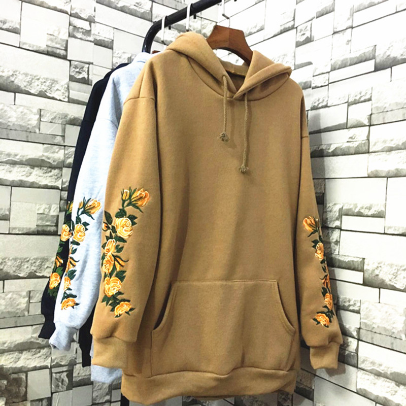 Women Flower Embroidered hoodies Casual Hooeded Sweatshirts Oversize Long Sleeve Pullovers Autumn Grey Pocket Tops WHD033