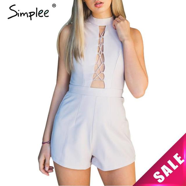 Simplee apparel alta neck lace up elegante jumpsuit mulheres romper mangas curtas sexy playsuit meninas macacões de cintura alta verão