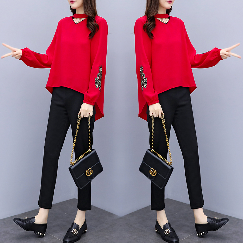 Spring Summer Two Piece Sets Women Plus Size Black Red Embroidery Long Sleeve Tops And Pants Suits Office Elegant Korean Sets 28