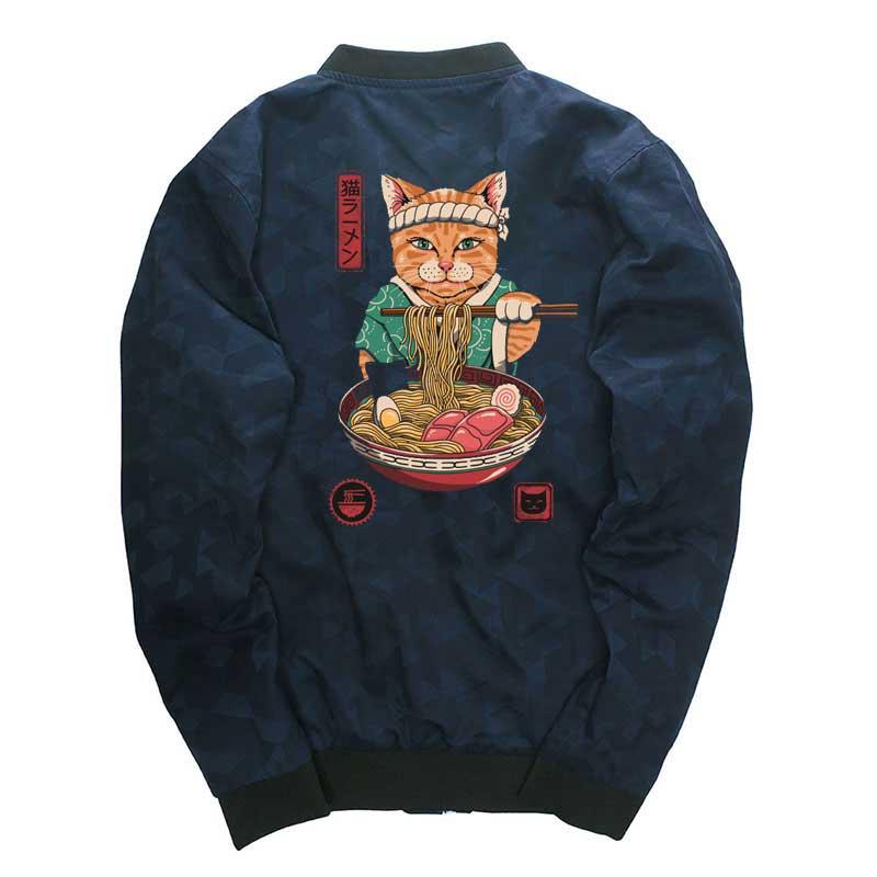 Neko Ramen Jackets Harajuku Japanese Style Men Coat Hip Hop Windbreaker Drop Shipping Mens Jackets Streetwear Coat Stand Collar