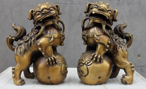 006713 Chinese Palace Feng shui Bronze Evil Door Guardian Fu Foo Dog Lion statue Pair